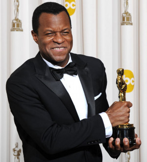 Geoffrey Fletcher celebrates his Oscar for Adapted Screenplay for