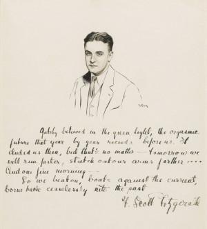 ink drawing of F. Scott Fitzgerald by Robert Kastor. Fitzgerald ...