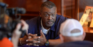 Defensive line coach Rodney Garner talks with reporters on Wednesday ...