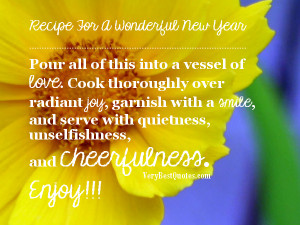 inspirational new year poem - Recipe For A Wonderful New Year