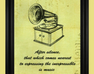 ... Records, Vinyl Record Music Art Print Poster with Quote - 8 x 10