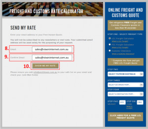 Steps 8 to 10: How to Use our LCL Freight Calculator