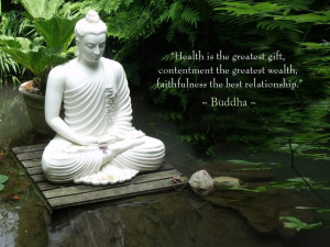 white satute of Gautama buddha with quotes