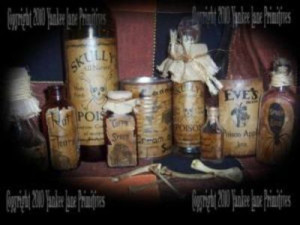 Halloween Potion Labels on jars, bottles and rusty cans. Labels by ...