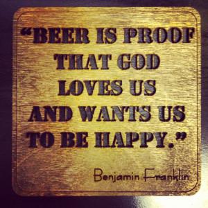 Birthday Beer Quotes Ben franklin beer quote - wall
