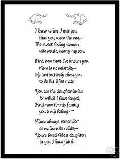 Poem for Daughter in Law Calligraphy Print   eBay