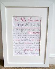 ... Poster Grandma Poem Present Grandchild Christmas Gift Nanny Nanna Nan
