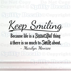 KEEP SMILING MARILYN MONROE QUOTE Vinyl Wall Decal Decor Sticker