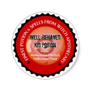 Magic Spells Potion Halloween (Distressed Effect) Round Sticker