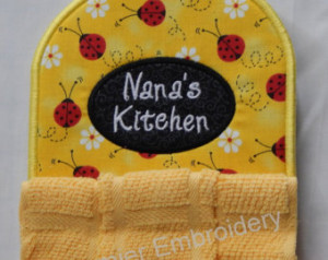 Ladybug with Grandma or Nana Kitche n Towel Topper ...