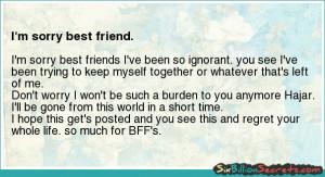 Friends - I'm sorry best friend.