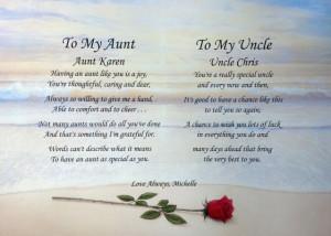 Details about AUNT & UNCLE PERSONALIZED POEM CHRISTMAS GIFT IDEA