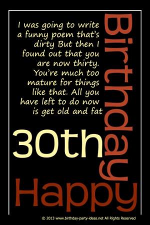 Funny 30th Birthday Poem:
