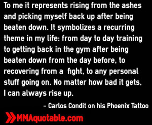 UFC Fighter Carlos Condit on his Tattoo (Phoenix)
