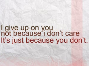 giving up on you. I give up F-ing give up