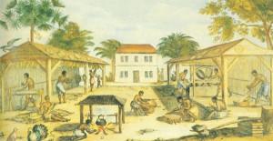 Slaves working on a tobacco plantation. Unknown artist, 1670. Public ...