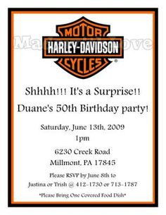 harley davidson birthday party invitations more harley davidson ...