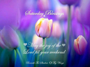 Saturday Blessings : May the joy of the Lord fill your weekend.