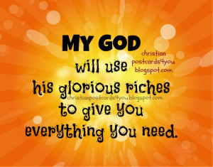 God will give you what you need. Christian postcard free card for ...