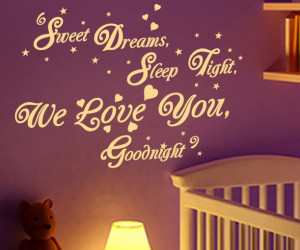 SWEET DREAMS GOODNIGHT quote vinyl wall sticker decal