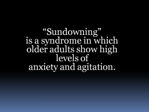 Sundowning, an Anxiety Syndrome in Elderly Dementia Patients