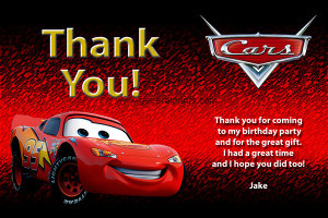 Disney Cars Thank You - Lightning McQueen