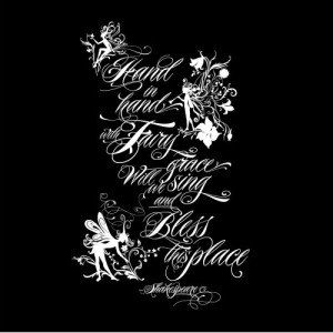 ... Wall Decal Sticker Art - Fairy Grace- Shakespeare quote - Whi