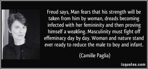 Freud says, Man fears that his strength will be taken from him by ...