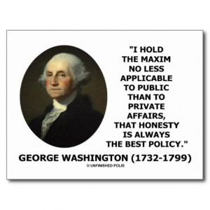 george_washington_maxim_honesty_best_policy_quote_postcard ...