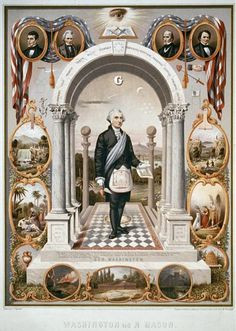 President George Washington, drawn as a Mason, surrounded by Masonic ...