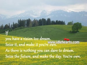 ... you have a vision too dreamseize itand make it youre own future quote