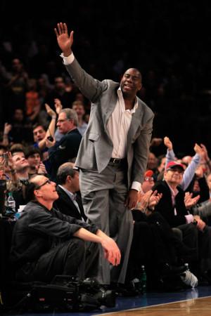 Magic Johnson at Cleveland Cavaliers vs New York Knicks game