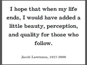 Jacob Lawrence on His Legacy