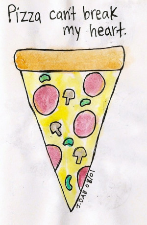 love quote food heart watercolor pizza doodle sketchbook heartbreak ...