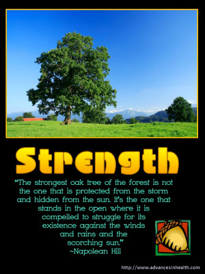 "Inspirational Quote of the day: Napoleon Hill ""The strongest oak of ..."