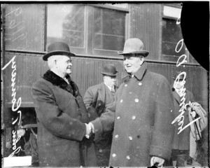 1914 Charles A Comiskey, owner White Sox, and John T Connery shaking ...