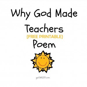 Free Printable} Simple Teacher Gift – Why God Made Teachers Poem