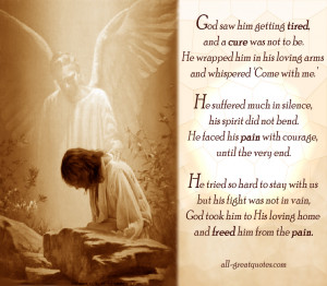 Sympathy Funeral Card Poems – God saw him getting tired, and a cure ...