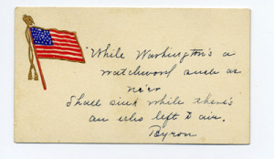 Card with American flag and quote by Byron