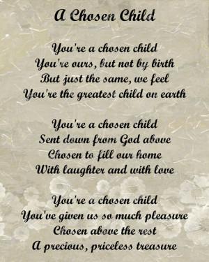 Adoption Poem for Adopted Child Digital INSTANT DOWNLOAD - On Sale!!