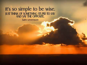 So simple to be wise