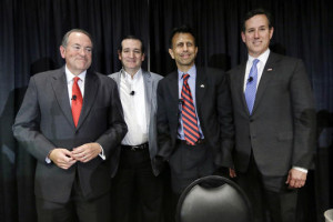 Former Arkansas Gov. Mike Huckabee, from left, Sen. Ted Cruz, R-Texas ...
