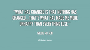 What has changed is that nothing has changed... that's what has made ...