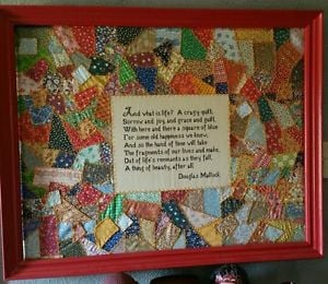 Details about Vintage patchwork quilt with hand embroidered quote