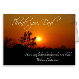 Father's Day Thank You Shakespeare Quote Cards