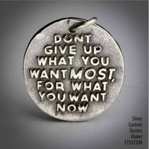 Dont give up ... (035) Inspirational Quotes on Solid Silver Pendant ...