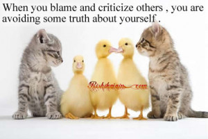 When you blame and criticize others , you are avoiding some truth ...