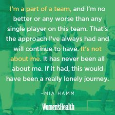 On being a team player which applies to families as well as teams: