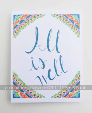 All is Well Motivational Quote Peace Hope by #penandpaint on Etsy