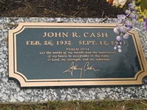 The grave of Johnny Cash in in Hendersonville Memory Gardens near his ...